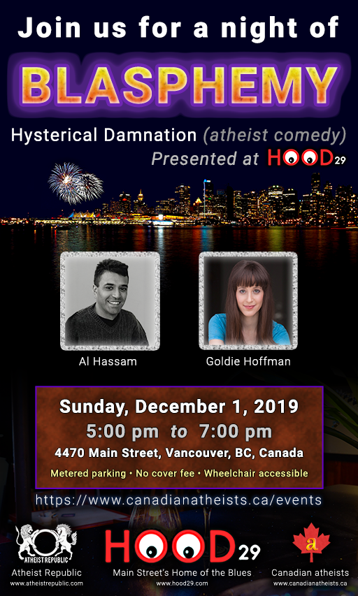 [2019-Dec-01 event: A night of Blasphemy - Hysterical Damnation (atheist comedy)]